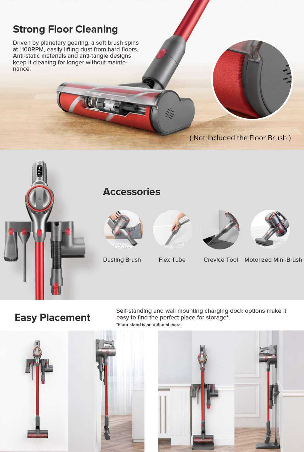 Roborock H6 Portable Wireless Handheld Vacuum Cleaner 150AW Strong Suction 420W Brushless Motor 3610mAh Battery OLED Display International Version - Space Silver