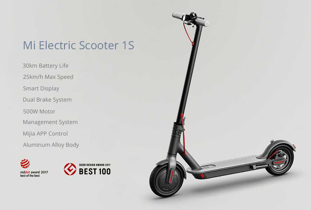 Mi Electric Scooter 1S Folding Electric Scooter 8.5 Inch Tire 250W Brushless Motor Up To 30km Range Max speed 25km/h Smart Display Dual Brake CN Version - Black