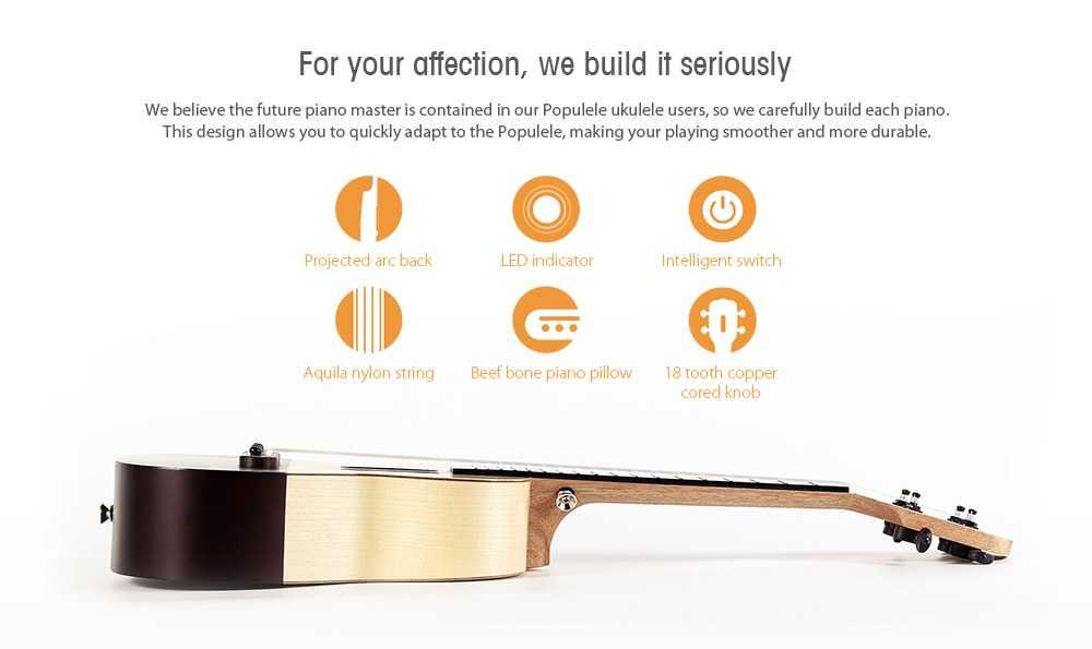 Xiaomi Populele 23 inch APP LED Bluetooth USB Smart Ukulele Gift for Beginners 1pc- Cream normal type