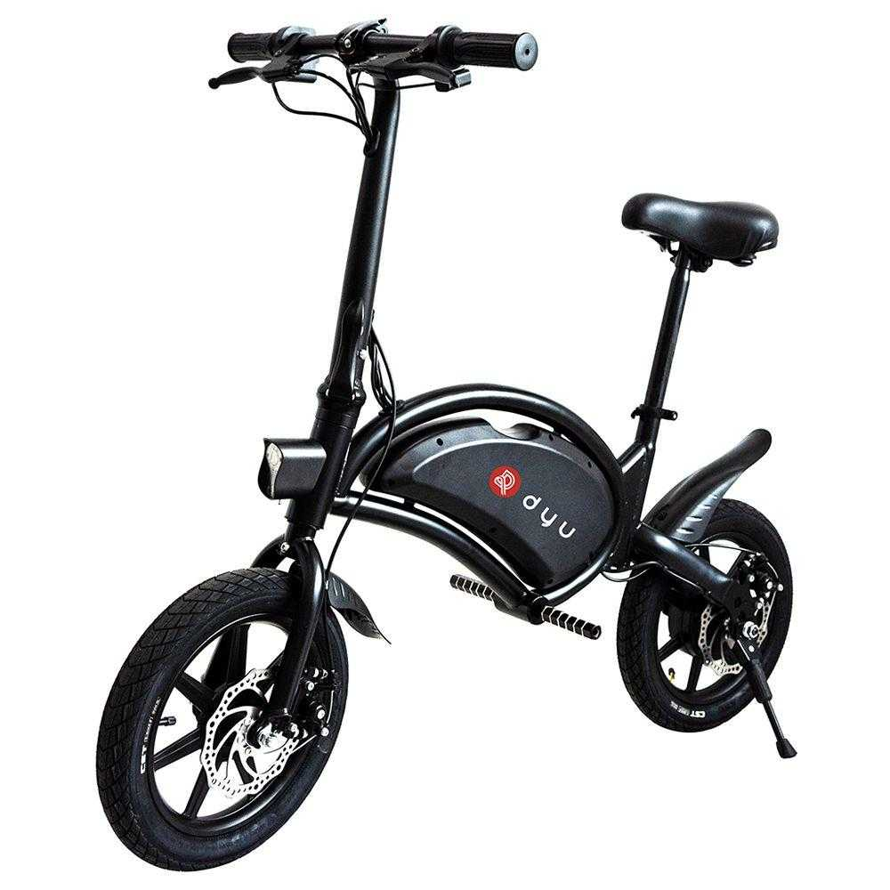 DYU D3F Folding Moped Electric Bike 14 Inch Inflatable Rubber Tires 240W Motor Max Speed 25km/h Up To 50km Range Dual Disc Brakes Adjustable Height - Black