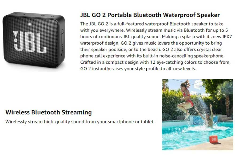 JBL Go 2 Bluetooth Speaker Built-in Microphone IPX7 Audio Cable 5 Hours Playtime