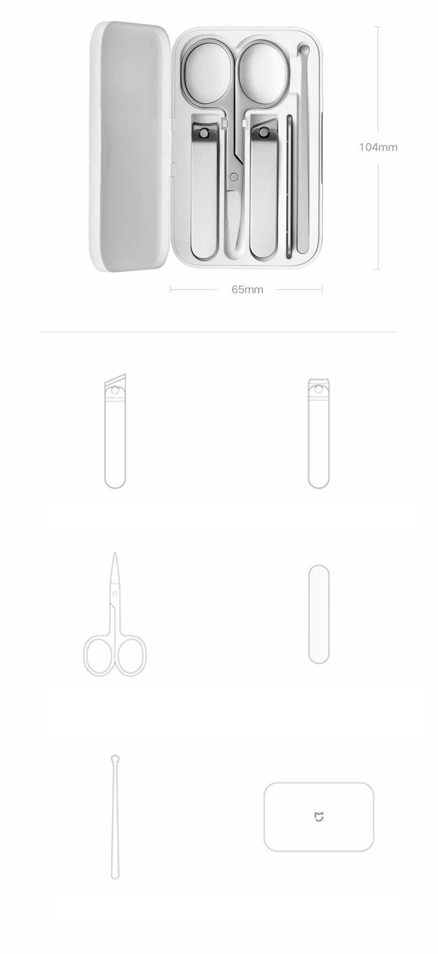 XIAOMI Mijia Nail Clipper Set 5Pcs