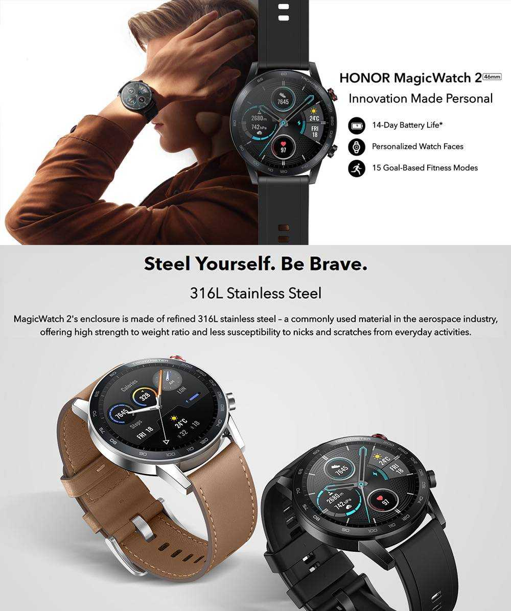 Honor MagicWatch 2 46mm Smart Watch 1.39 Inch Fitness Activity Tracker with Heart Rate and Stress Monitor 14 Days Standby 5ATM Water Resistant Global Version - Charcoal Black