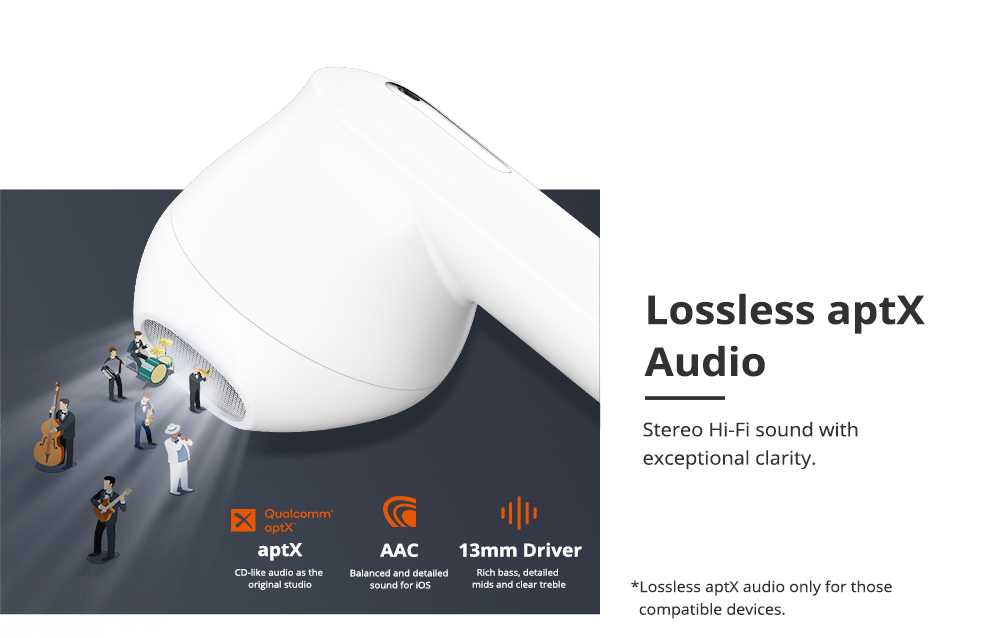 Tronsmart Onyx Ace Bluetooth 5.0 TWS Earphones 4 Microphones Qualcomm QCC3020 Independent Usage aptX/AAC/SBC 24H Playtime Siri Google Assistant IPX5 - White